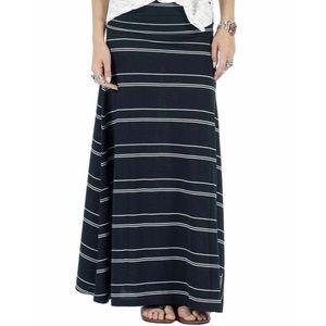 Volcom Shameless Black & White Stripe Maxi Skirt